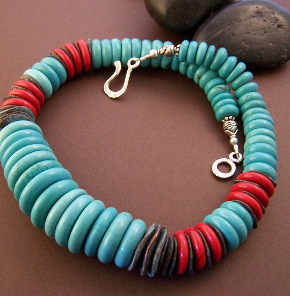 Graduated turquoise discs with coral and Greek ceramic discs. Colorful chunky necklace. Stone Street Studio