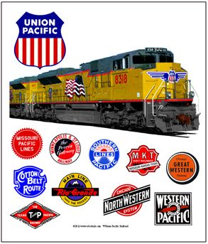 Union Pacific 844 Logo | Tin sign honoring the Union Pacific Railroads Heritage railroad logos.
