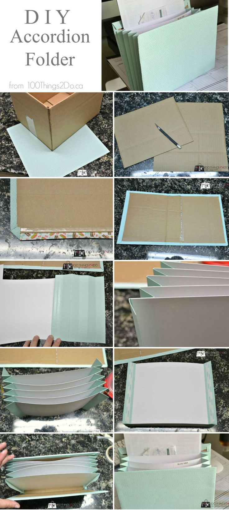 DIY Accordion folder from scrapbook paper and cardboard                                                                                                                                                                                 More