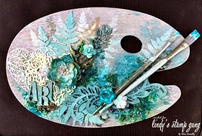 Scrapdiva Tina: Altered Artist Palette for Lindy's Stamp Gang #couturecreationsaus #decorativedies #florallace #mixedmedia
