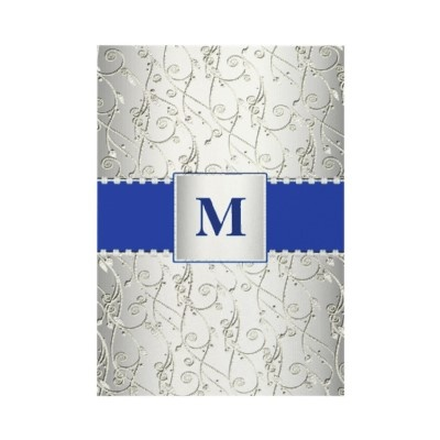 Elegant Monogram Royal Blue And Silver Swirl Wedding Invitations With  Printed Rhinestone Embellishment.