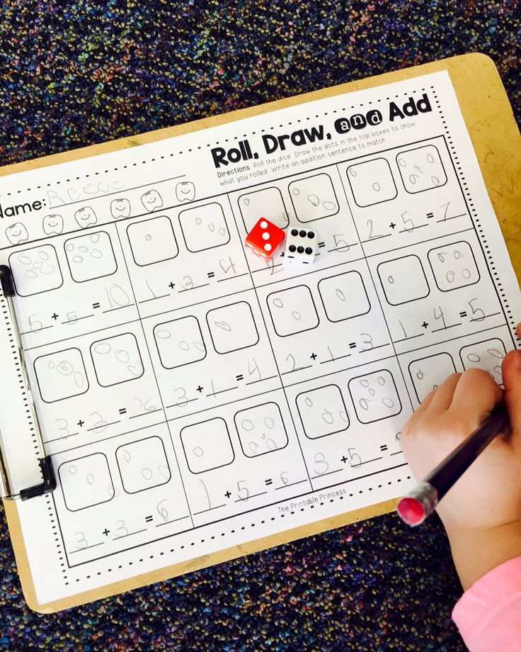 Addition practice. Roll the dice, draw the dots and add!