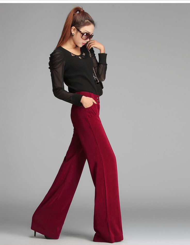 2014 New Brand Fashion Elegant Wide Leg Pants Slim All Match Straight Womens Red Trousers Formal ...