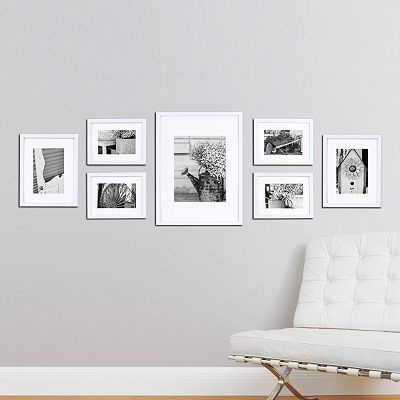 "Frame collage - four 8""H x 6""W frames (each holds one 4"" x 6"" photo), two 8""H x 10""W frames (each holds one 5"" x 7"" photo) & one 12""H x16""W frame (holds one 8"" x 10"" photo)"
