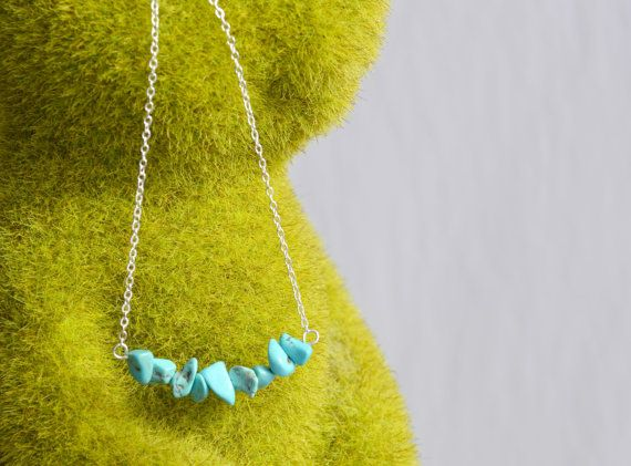 Turquoise Necklace Cluster Crystal Pendant Silver by IndigoLizard