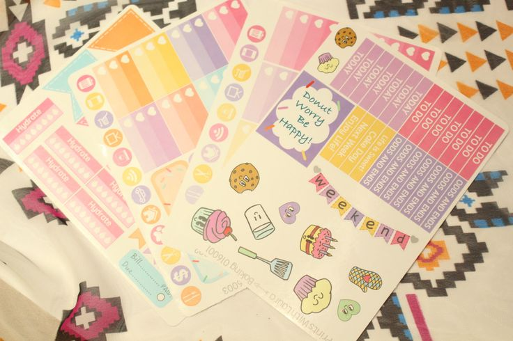 Cute kawaii style baking bright colours kit    Erin condren life planner stickers by printswithlaura on Etsy