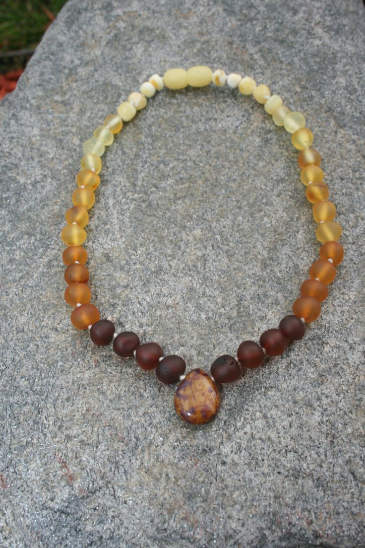 Raw / Unpolished Baltic Amber Teething Necklace by EstanysFlame, $20.00