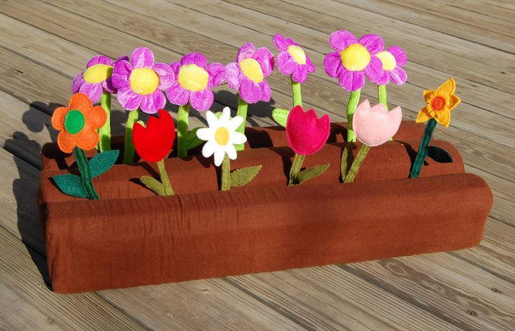 a project idea for kids in the winterGardens Dirt, Dirt Patches, Foam Dirt, Felt Garden, Felt Flower, Dirt Gardens, Dirt Foam
