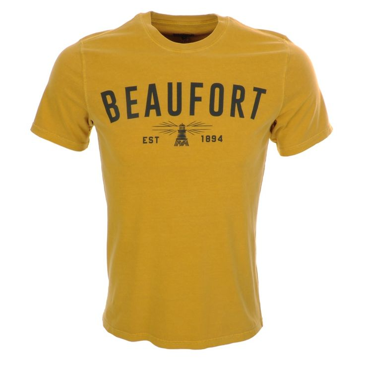 Barbour Affliate Tee T Shirt In Mustard Yellow, An intentionally distressed dye design with a ribbed crew neckline and short sleeves. The signature Beaufort Barbour logo design is printed on the chest of the tshirt in navy. 100% Cotton. Brand New Collection Of Barbour T Shirts, And Polo T Shirts Available Live Online UK.