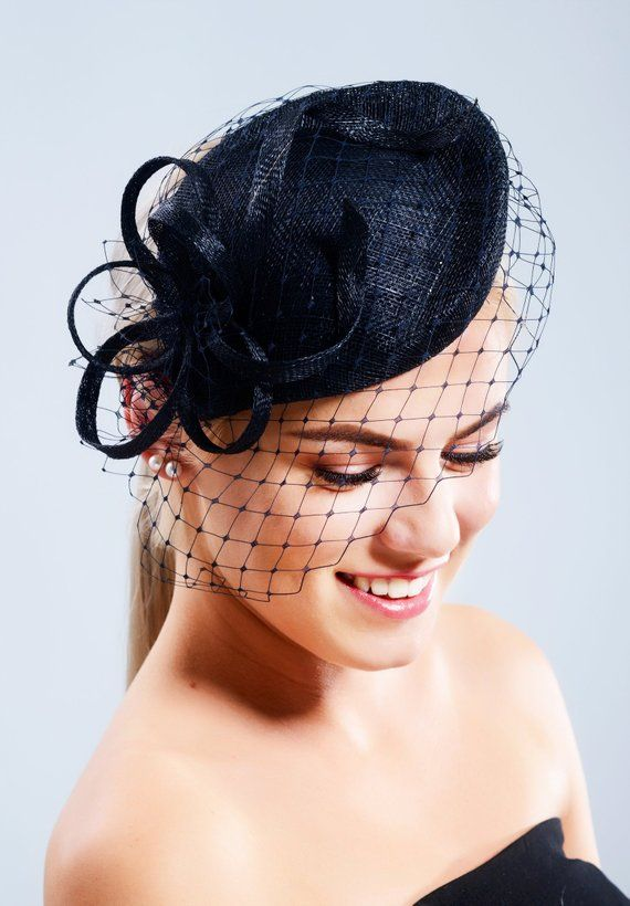 a3bb827f3 Navy blue pillbox hat with short face veil, Dutchess Kate style ...