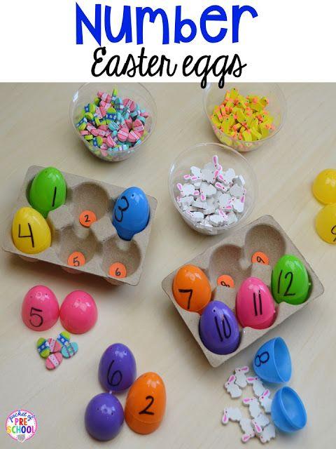 Easter egg counting activity using mini erasers. Plus peeps 5 senses and taste test FREEBIE. For preschool, pre-k, and kindergarten.