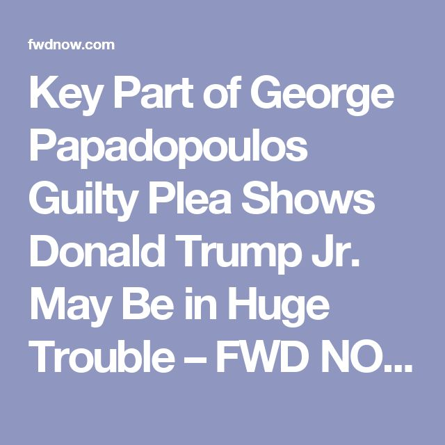 Key Part of George Papadopoulos Guilty Plea Shows Donald Trump Jr. May Be in Huge Trouble – FWD NOW