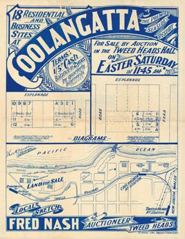 Vintage Reproduction Poster Print - Estate Map - Coolangatta 1914 | State Library of Queensland Shop