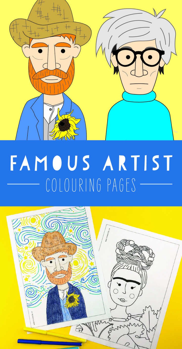 Famous artist colouring pages (coloring pages) featuring Andy Warhol, Frida Kahl…