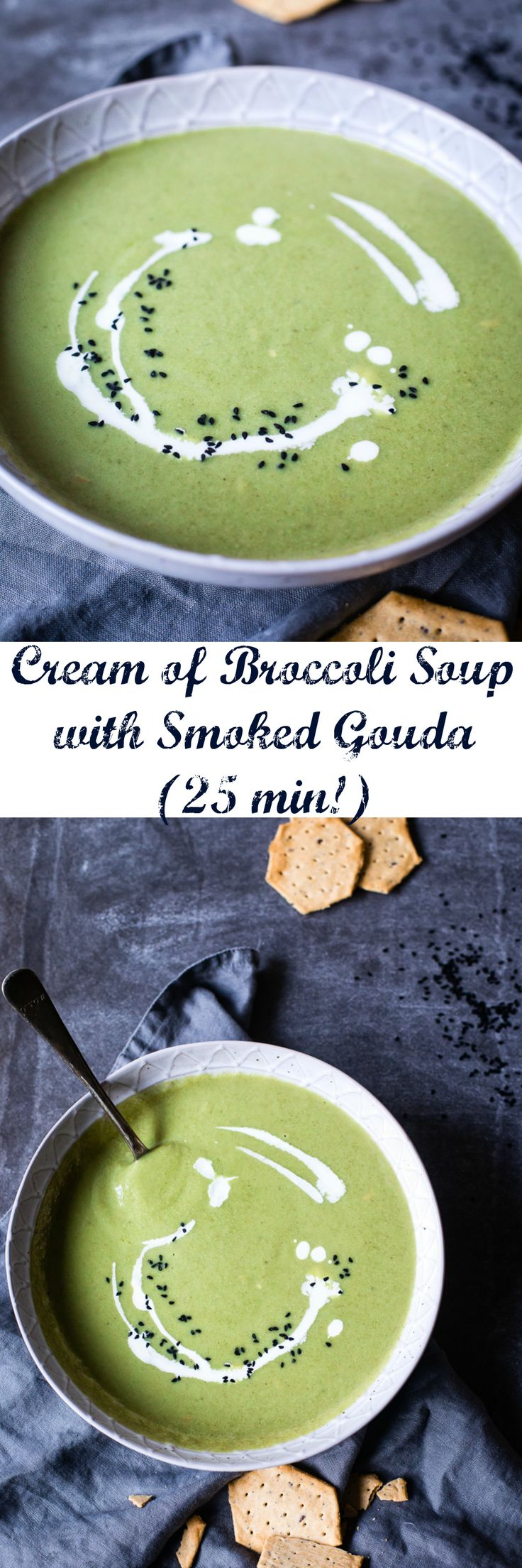 This delicious Cream of Broccoli soup comes with a short ingredient list and even shorter cooking time!