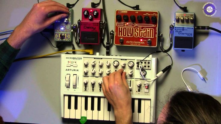 Microbrute. Digitech Polara, EHX Holy Stain and Boss pedals jam