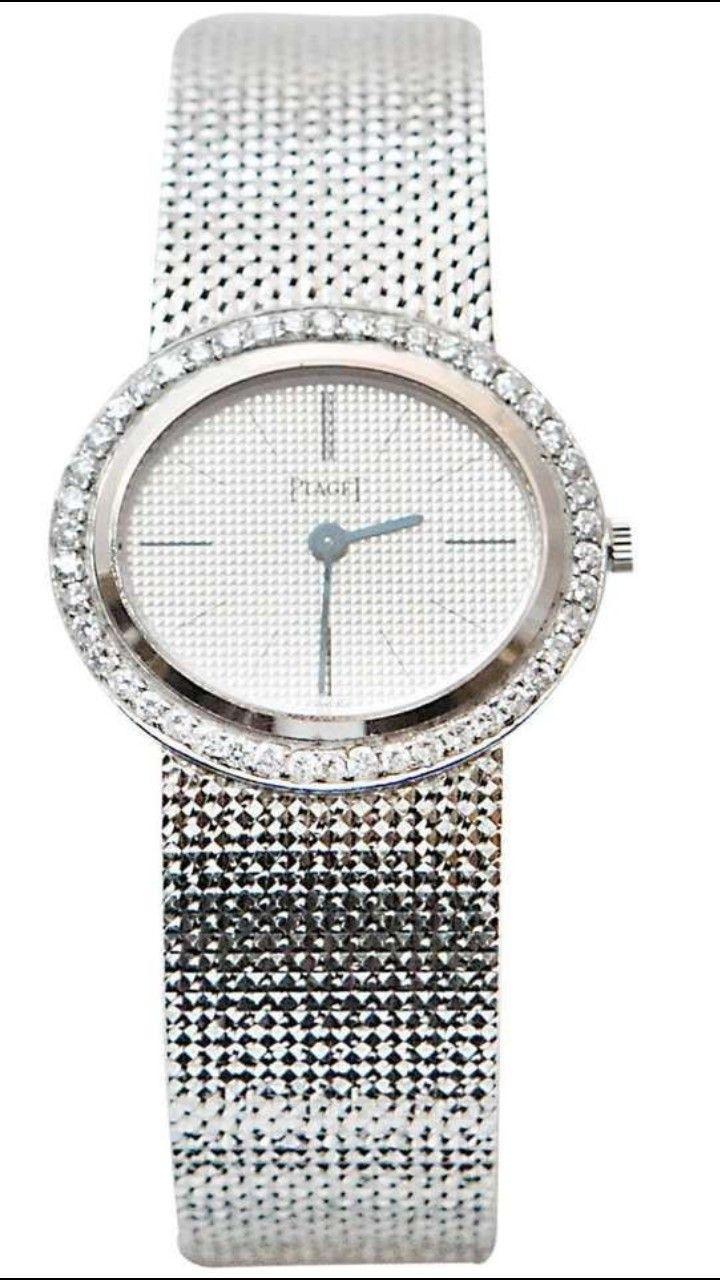 0541f7f9447 PIAGET 18 Karat White Gold and Diamonds Manual Wind Lady Wristwatch. 18K  white gold 750 1000ème. Bezel measuring 27mm set with round brillian…
