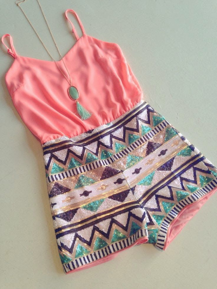 Gorgeous aztec sequin romper and mint stone necklace the best summer outfits