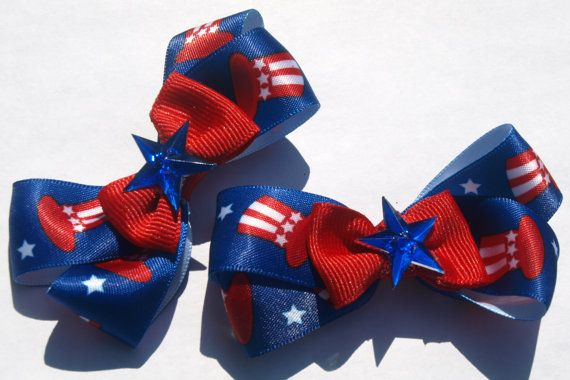 Red white and blue pigtail bows patriotic by mylittlebows on Etsy