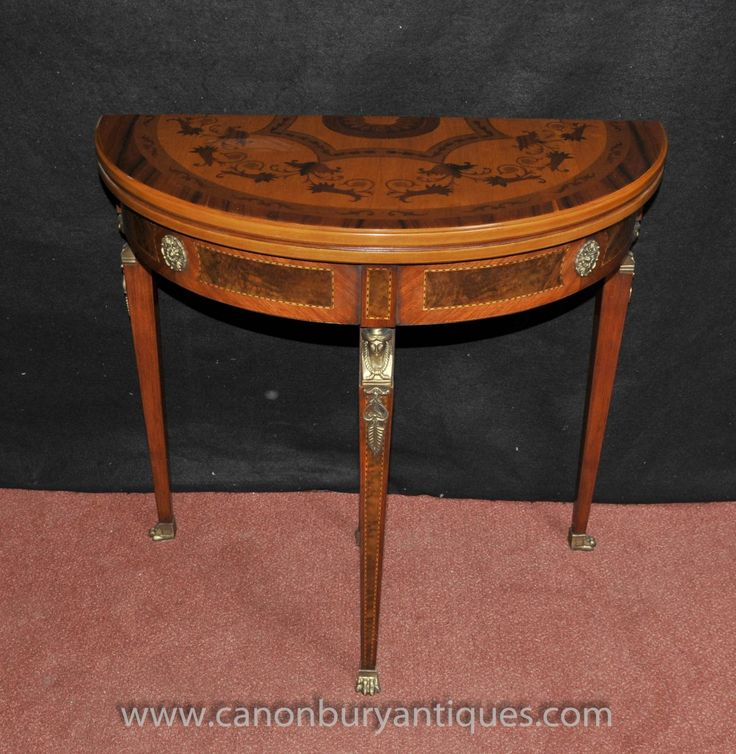 Photo of French Napoleon Demi Lune Card Table Console Games Tables