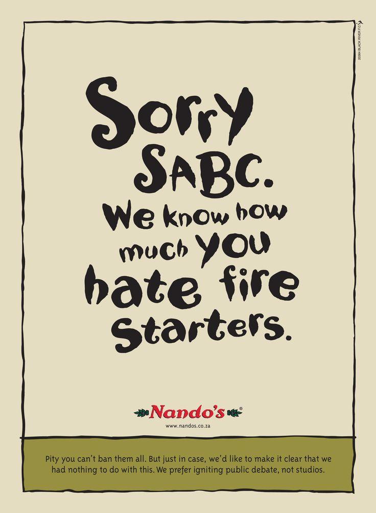 Nando's takes dig at SABC after studio fire