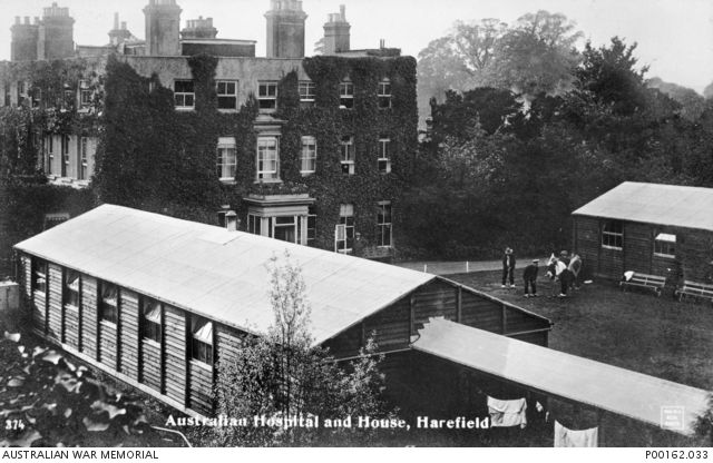 HAREFIELD, MIDDLESEX, ENGLAND, 1914-18. NO. 1 AUSTRALIAN AUXILIARY HOSPITAL AND HOUSE. NOTE THE GROUP PLAYING CROQUET ON RIGHT.