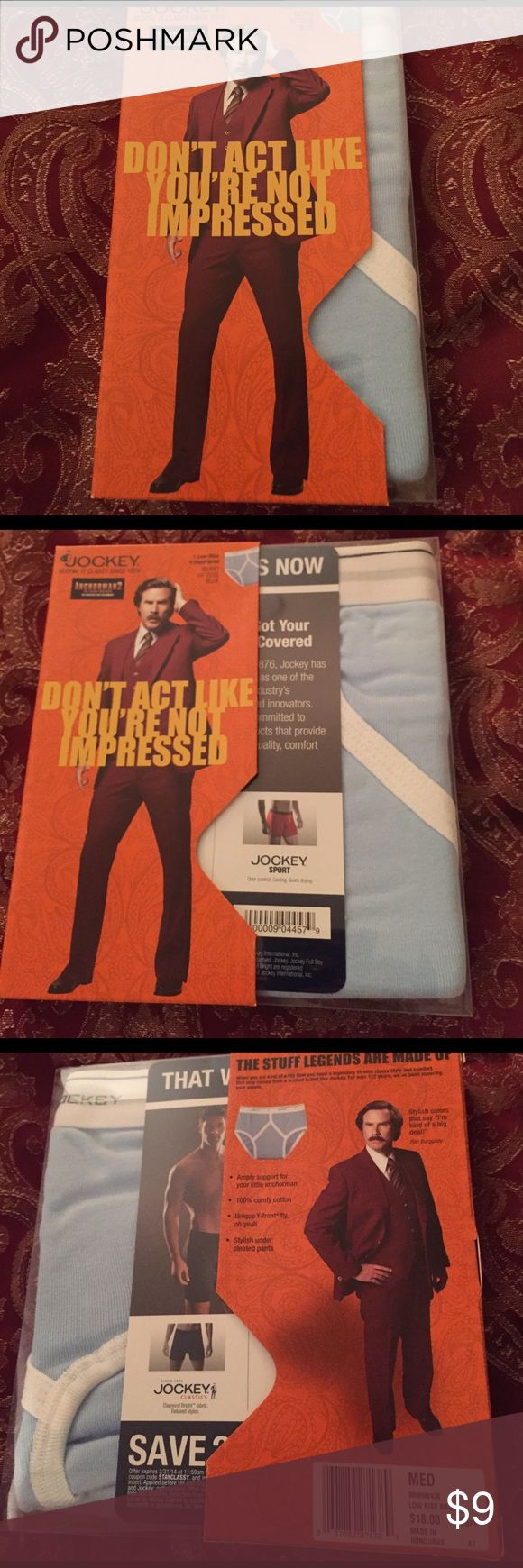 Jockey Men's Low Rise Brief Underwear Anchorman Men's Jockey Low Rise Brief Underwear...Size Medium...light blue...made in Honduras....100% cotton.....in Anchorman 2 special edition box! Jockey Underwear & Socks Briefs