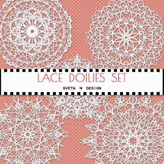 Lace Doilies Digital Clipart 5 psc - Instant Download {doily lace clipart, clip art, white, digital lace, lace clipart, lace digital}