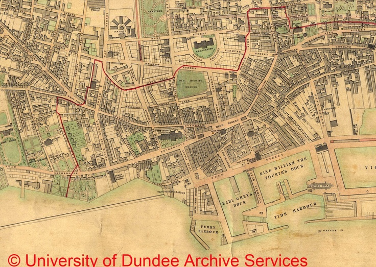 Part of Charles Edward's plan of Dundee from 1846 showing town centre and future site of University University of Dundee Archives MS 17p/7