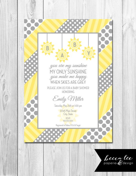 Free Customizable Baby Shower Invitations you are my sunshine  | You Are My Sunshine Baby Shower Invitation - Grey and Yellow Polka ...