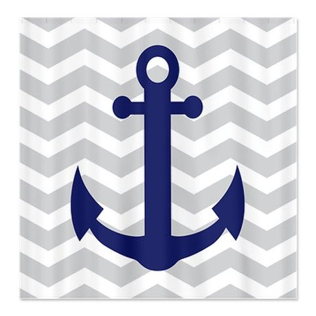 Chevron Anchor Shower Curtain