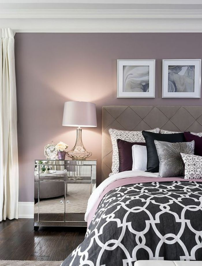 1001 id es pour la d coration d 39 une chambre gris et violet deco zen couleur lilas et. Black Bedroom Furniture Sets. Home Design Ideas