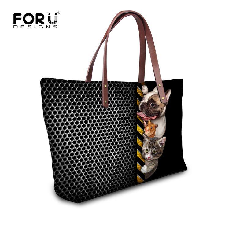 Черная полоса вязание лоскутное 3D забавный собаки животные тотализатор сумки для женщин сумки для леди женщина свободного покроя среднего пляж