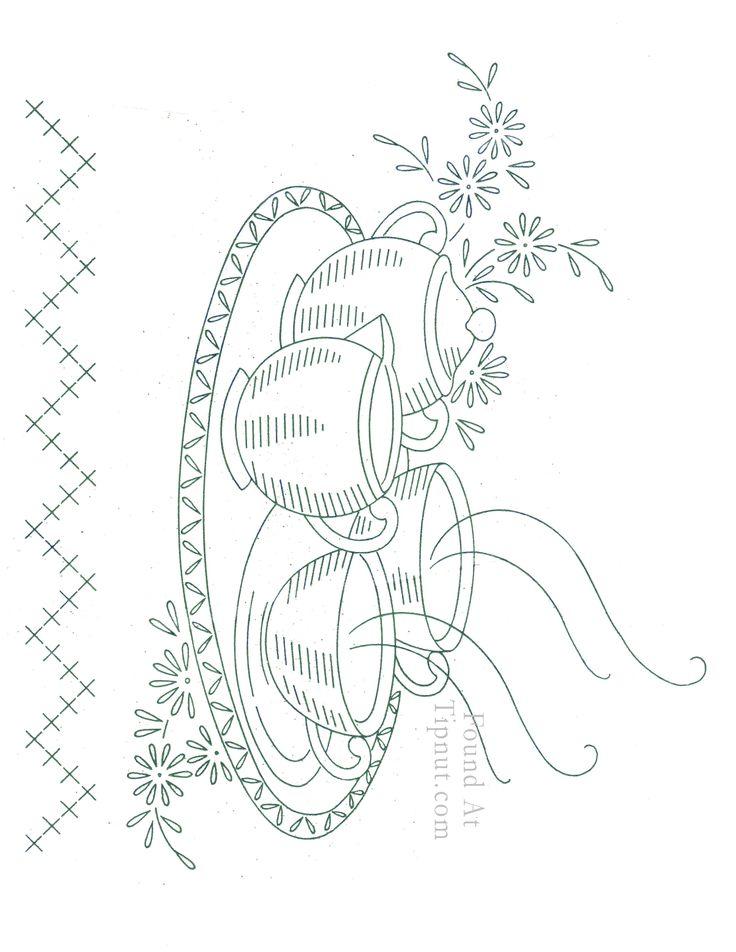 Vintage Embroidery Patterns | Vintage Embroidery Designs: Dishware Set