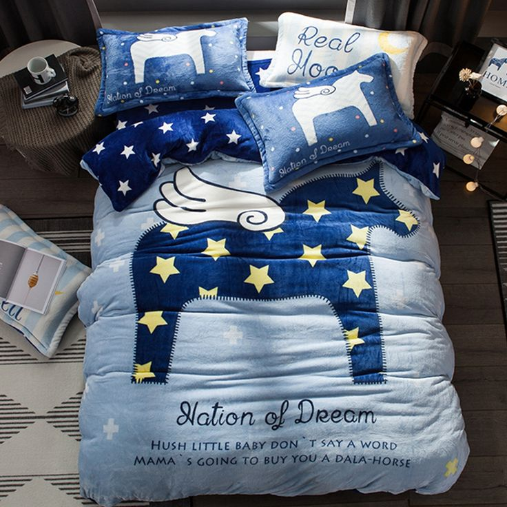 Flannel Duvet Cover Set Queen Size Bedding Sets Cartoon Children Deep Blue Fleece Bed Sheet Pillow Case Tag A Friend Who Loves Unicorn