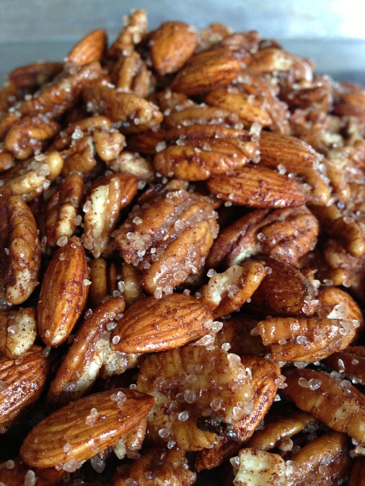 For a Candida cleanse: raw peans and almonds tossed with coconut oil, xylitol, cinnamon, and a pinch of sea salt.  Roast on 300 for about 20-30 min.  They're better undercooked than over; don't overcook.  Let them sit out on the counter until well cooled to allow the syrup to harden slightly.  Delish!