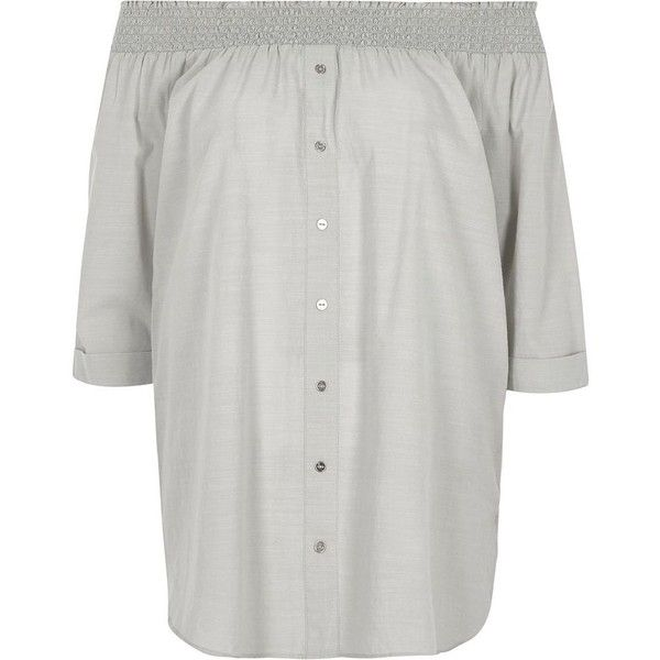 River Island Light grey chambray bardot button front top ($33) via Polyvore featuring tops, grey, river island top, smocked top, loose fitting tops, river island and 3/4 length sleeve tops