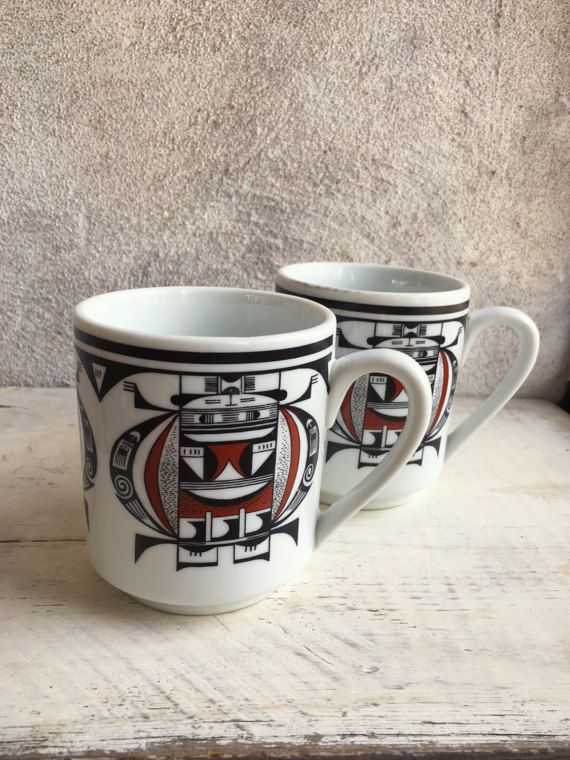 Pair of vintage Southwestern mugs, Native American inspired coffee cups brown black tribal decor, ceramic mugs, Hopi art style vintage mugs