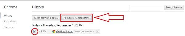 Delete Google Chrome History