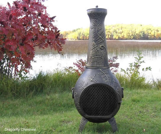 A large, heavy cast aluminum chiminea, the Dragonfly style is a unique and functional outdoor fireplace design. This large chiminea handles full size fire logs and has a large mouth opening for full view of the fire. The hinged safety door provides easy access for adding wood and roasting marshmallows. The excellent quality of Cast Aluminum construction combined with Stainless Steel, requires very little maintenance and will last for many years of use.  $429.95  thebluerooster.com