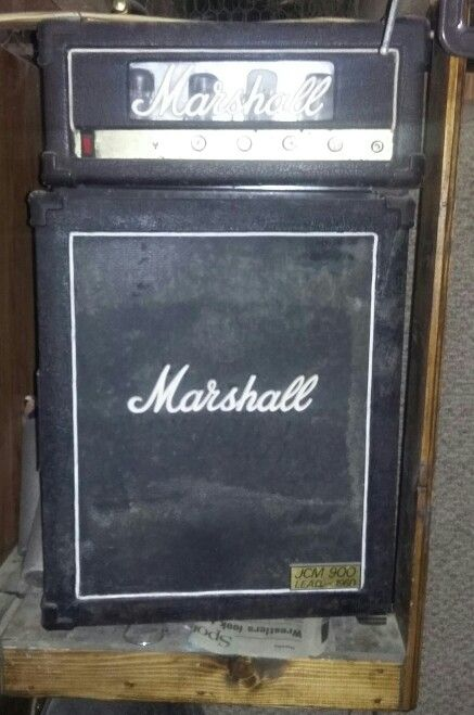 It's an amp. No its a fridge. Cris upcycled an old red bull mini fridge to look like a Marshall amp