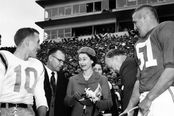 Queen Elizabeth attends a football game at the  University of Maryland, College Park, Maryland in October, 1957.