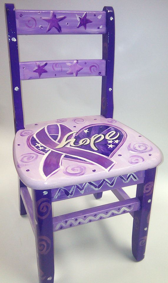 Children's Fight Cancer Time Out Chair in Purple by RockinThePaint, $105.00