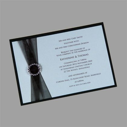 layered postcard wedding invitation with organza ribbon and buckle this diy invitation kit can also - Make Wedding Invitations Online