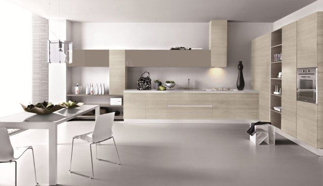 une cuisine moderne en blanc et beige
