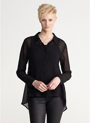 Classic Collar Shirt in Sheer Silk Georgette