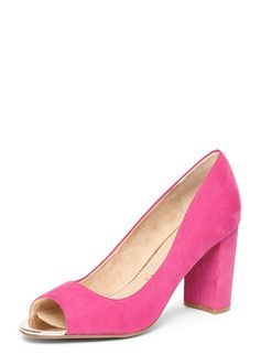 **Lily & Franc Pink 'Jen' Heeled Court Shoes