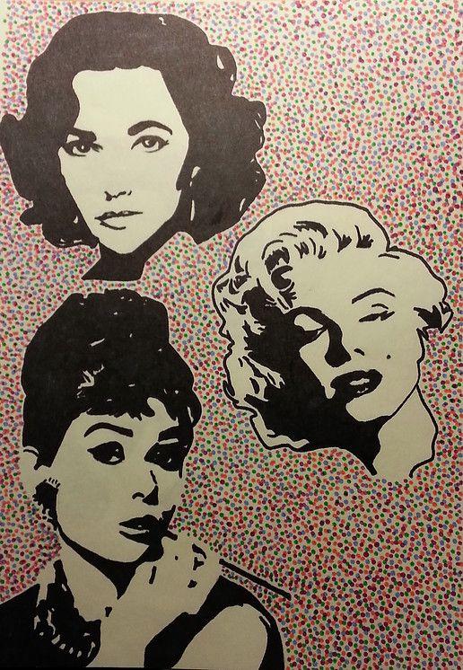 Pop Art of Elizabeth Taylor, Marilyn Monroe and Audrey Hepburn