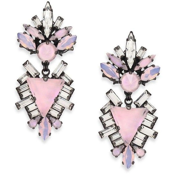 Erickson Beamon Lady Of The Lake Crystal Drop Earrings ($520) ❤ liked on Polyvore featuring jewelry, earrings, accessories, brincos, apparel & accessories, post earrings, crystal jewellery, post drop earrings, crystal stone jewelry and erickson beamon