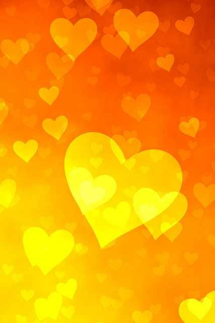 Cute Heart Wallpapers For Iphone 6 Yellow Orange Bokeh Hearts Phone Wallpaper Background